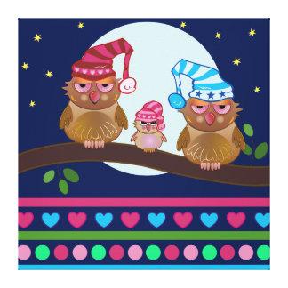 Owl family with cute nightcaps Cartoon wallart Canvas Print
