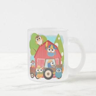 Owl Farmers Frosted Glass Coffee Mug