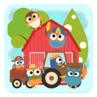 Owl Farmers Square Sticker