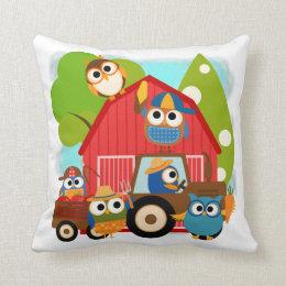 Owl Farmers Throw Pillow