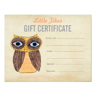 """Owl Fashion Business Gift Certificate Template 4.25"""" X 5.5"""" Invitation Card"""