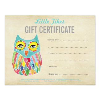 "Owl Fashion Business Gift Certificate Template 4.25"" X 5.5"" Invitation Card"