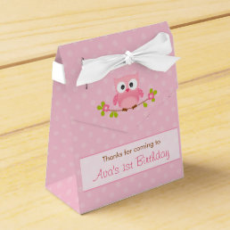 Owl Favor Box (Birthday / Baby Shower) - Pink Tent