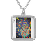 owl fell art two silver plated necklace