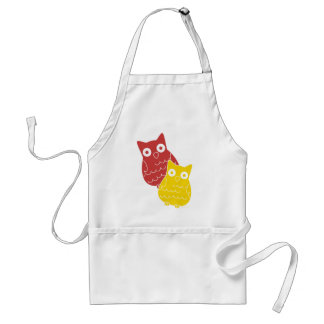 Owl Fellows one of Red one of Yellow Adult Apron