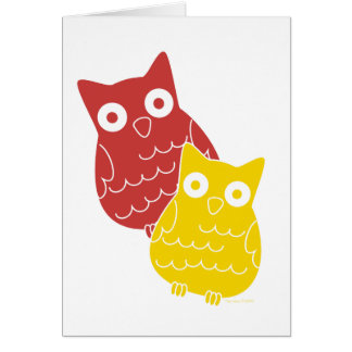 Owl Fellows one of Red one of Yellow Greeting Card