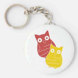 Owl Fellows one of Red one of Yellow Keychain