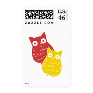 Owl Fellows one of Red one of Yellow Postage