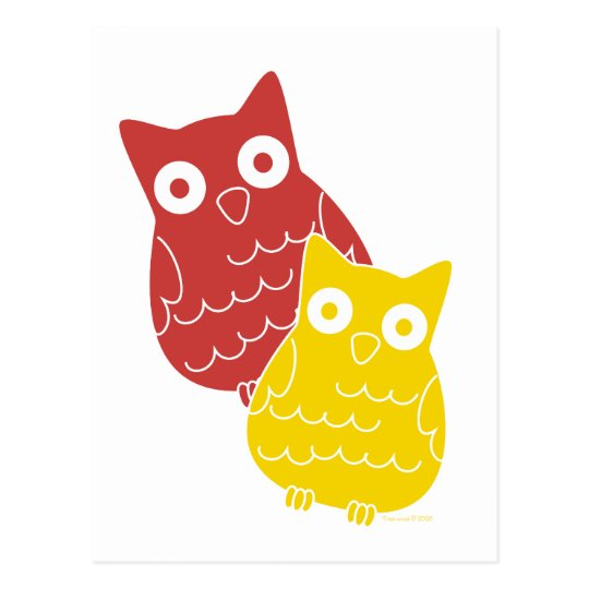Owl Fellows one of Red one of Yellow Postcard
