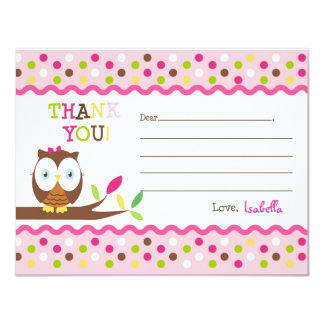 Owl Fill In The Blank Thank You Note Cards