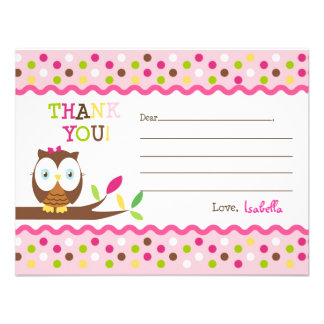 Owl Fill In The Blank Thank You Note Cards Announcement