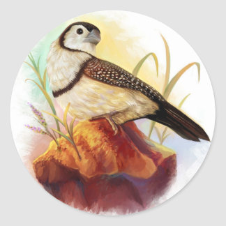 Owl finches realistic painting classic round sticker