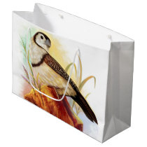 Owl finches realistic painting large gift bag