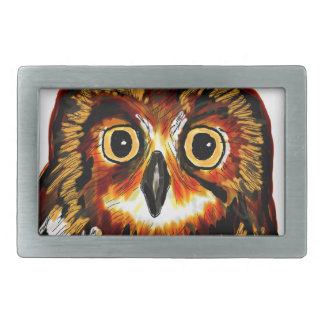 Owl first assistance rectangular belt buckle