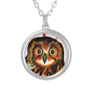 Owl first assistance round pendant necklace