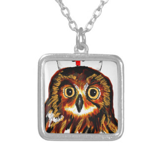 Owl first assistance square pendant necklace
