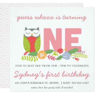 Owl 1st Birthday Invitations Zazzle