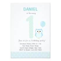 Owl First Birthday Invitation (Blue)