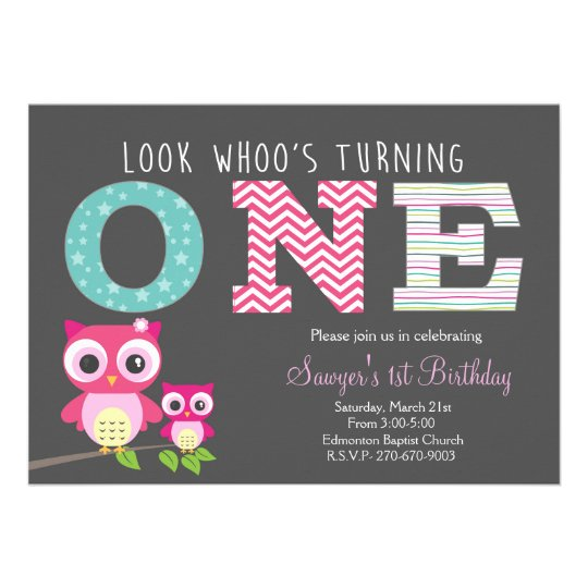 owl first birthday -look whoo is turning one card   zazzle, Birthday invitations