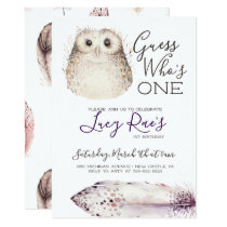 Owl First Birthday Party Card
