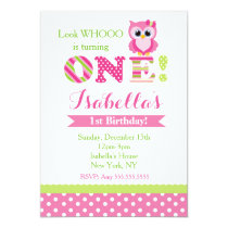 Owl First Birthday Party Invitations
