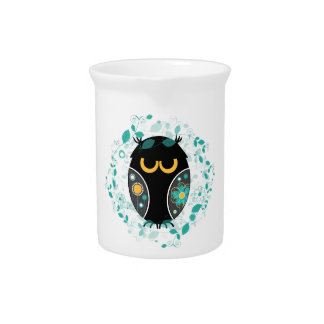 Owl Floral Pattern Modern Vector Illustration Beverage Pitcher