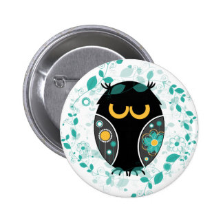 Owl Floral Pattern Modern Vector Illustration Button
