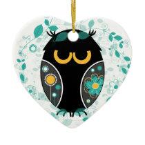 Owl Floral Pattern Modern Vector Illustration Ceramic Ornament
