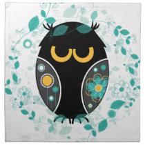 Owl Floral Pattern Modern Vector Illustration Cloth Napkin