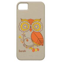 Owl & Flower design, orange brwon yellow. iPhone 5 iPhone SE/5/5s Case
