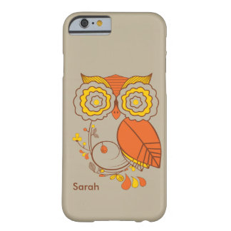 Owl & Flower design, orange brwon yellow. iPhone 6 Barely There iPhone 6 Case