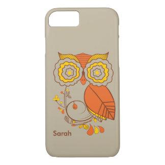 Owl & Flower design, orange brwon yellow. iPhone 7 iPhone 7 Case