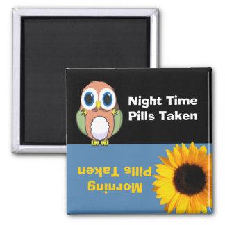 Owl & Flower Medication Reminder Magnet