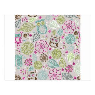Owl Flower Pattern Design Postcard