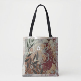 Owl Flowers and Branches Graphic Tapestry Collage Tote Bag