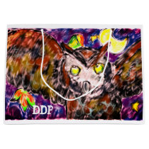 owl flying art large gift bag
