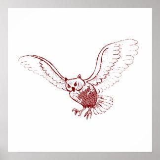 Owl Flying Poster