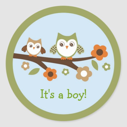 Owl Forest Envelope Seals Stickers