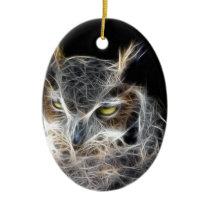 owl fractal design ceramic ornament