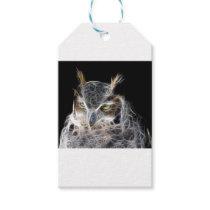 owl fractal design gift tags