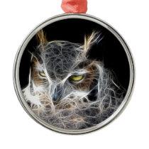 owl fractal design metal ornament