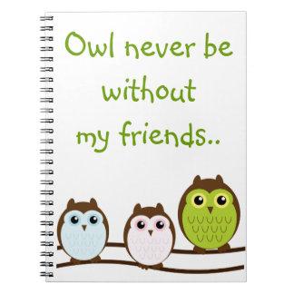 Owl Friends Girl Tween College School Notebook
