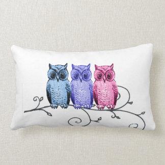 Owl Friends on Vine Blue Purple Pink Pillow
