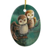 Owl Friends Owl Art Ceramic Ornament