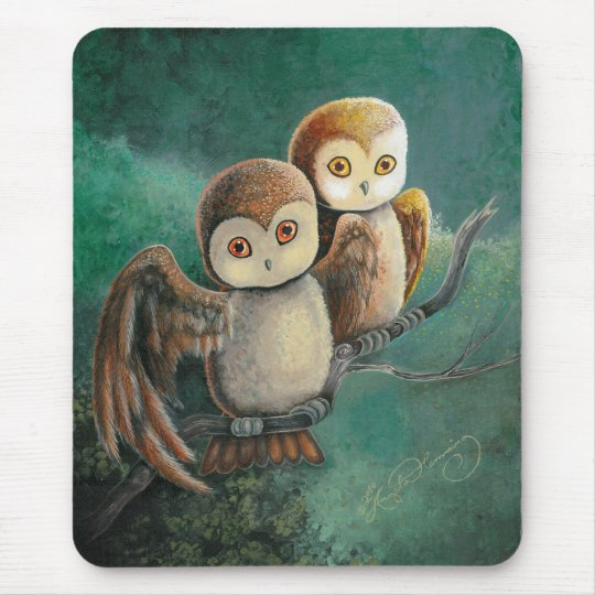 Owl Friends Owl Art Mouse Pad