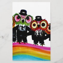 Owl friends rainbow art