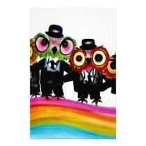 Owl friends rainbow art stationery