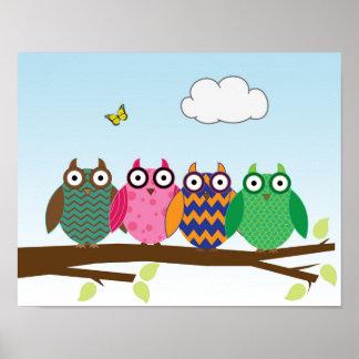 Owl Friends Wall Art for Kid's Room, Nursery/