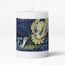 Owl Frightened by Mice Pillar Candle