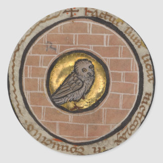Owl from a Medieval Manuscript Classic Round Sticker